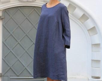 Linen dress, Work linen dress, Minimalist dress, Flax tunic, Casual Comfortable Womens Clothing, Women's top, Loose linen dress