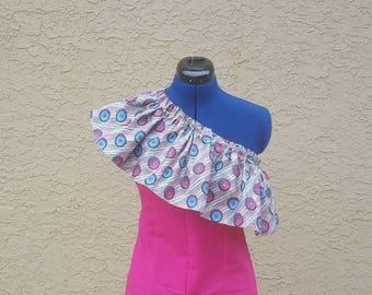 Ankara mono - frill top, mixed fabric