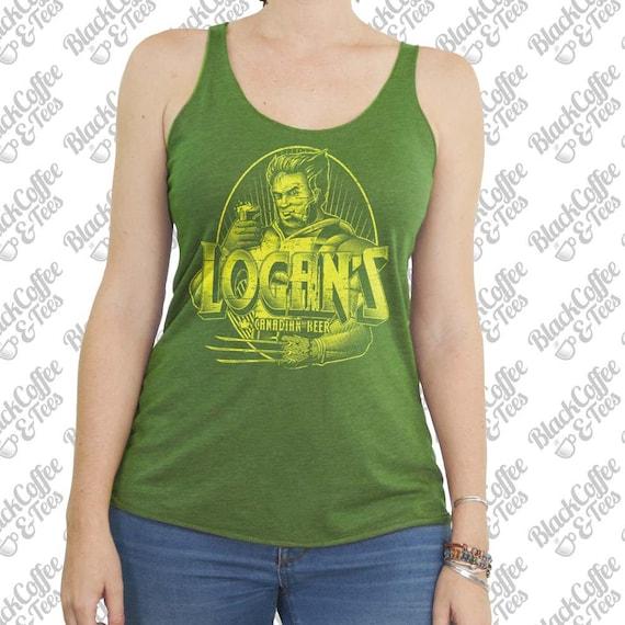 Womens St Patricks Day Shirt - Logan T-Shirt - Wolverine from X-Men Hand Screen Printed on a Womens Tank Top -  Womens Super Hero Green Tank