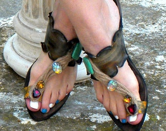 "Greek Handmade Leather Sandals, Brown Women Sandals ""Delos"" (handmade to order)"