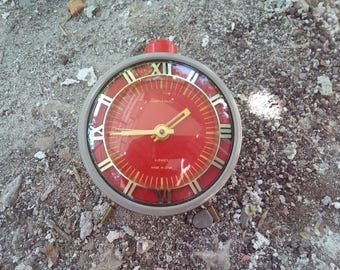 "Big Vintage Clock Red ""Jantar"", 4 Jewels alarm clock, Old rustic Clock, Alarm Clock, Vintage Clock, Home Office Decor, Made in USSR"