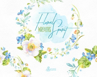 Floral Spirit. Wreaths. Watercolor floral clipart, violet, spring, light, viola, pansy, forget-me-not, fern, wedding, snowdrop, flourish