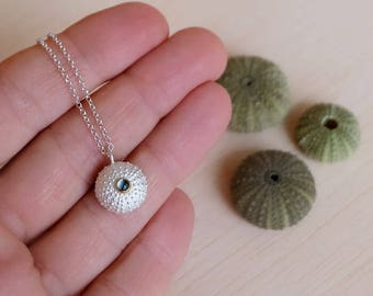 Sterling Silver Sea Urchin Pendant with Blue topaz - Medium Size Urchin Pendant with Chain or Cord