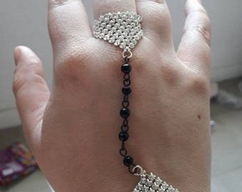 "Two-tone bracelet-ring ""Disco star"""