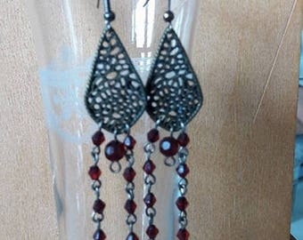 "Long earrings bronze ""Dimples"""