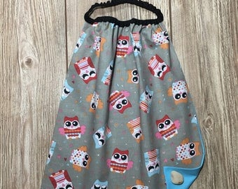 Towel elasticated canteen maternelle.theme multicolored owls