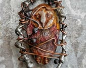 Barred owl pendant, wire wrapped owl pendant, wire wrapped polymer clay charms, handmade wire jewelry
