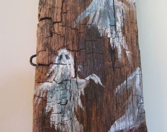 Halloween Ghosts Hand Painted on Rustic Barn Wood