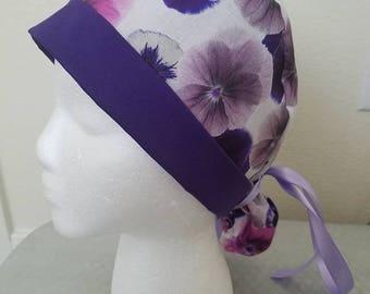 Purple Flowers Women's Scrub Cap