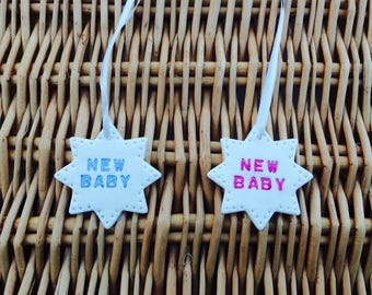 "Handmade Clay Star inscribed ""new baby"" with white ribbon (1)"