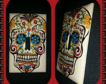 handmade Day of the Dead Sugar Skull lightswitch cover