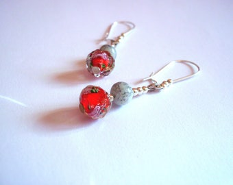chic Silver earrings, red lampwork beads