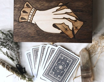 The Witch's Hand Tarot Box / Altar Box / Wood Burned Witches Toolbox