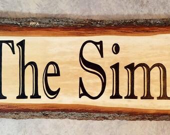 Unique Custom Wood Burned Family Name Sign.