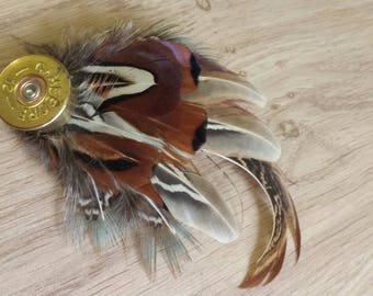 Feather hat pin , feather brooch , pheasant feathers , mens lapel pin , real feathers