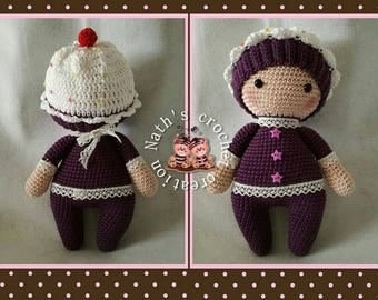 Made with cotton and crochet cupcake doll