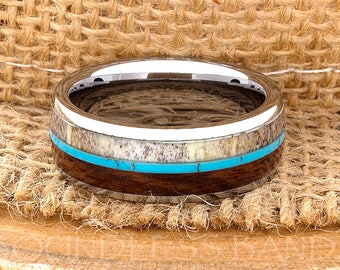 Tungsten Ring Tungsten Wedding Ring Band Mens Women's Wedding Band Red Wood Deer Antler Turquoise Anniversary Dome 8mm Matching Ring Set New