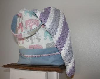 ELEPHANT TOTE BAG elephant print shopping bag elephant print hand bag elephant print bag project bag knitting bag crochet bag craft bag