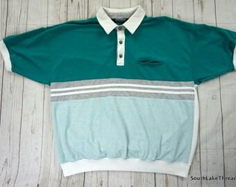 Vintage 80s Lesiure 1/4 Button Down Men's Polo Xl Extra Large Aqua / White By KnightsBridge 80s Teal Riff Raff