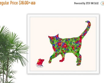 ON SALE Cat And Mouse, Cat Print, Kids Room Decor, Mouse Art, Wall Hanging, Nursery Decor, Nursery Wall Decor, Nursery, Cat Lover, Floral Pr