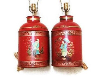 Chinoiserie Tea Canister Tole Lamps Hollywood Regency
