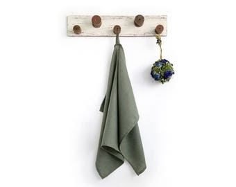 Army Green Tea Towel made of stone washed pure linen - lint free towel