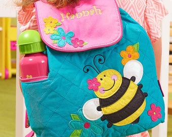 Personalized Happy Bumble Bee Embroidered Backpack