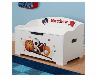 Personalized Dibsies Modern Expressions Sports Toy Box - White