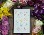 RAINBOW BOUQUETS / 4x6 magnetic frame / watercolor print / refrigerator magnet / thin black frame/ framed watercolor print / free shipping