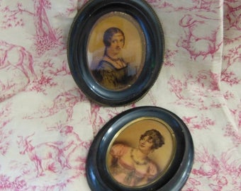 10 % SALE 2 Antique French framed prints. Female miniature portraits with headdress 7.09 inches