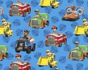Paw Patrol Rescue Cars Cotton Fabric / Paw Patrol by David Textiles 4020-4c / Paw Patrol by the  Yard and  Fat Quarters