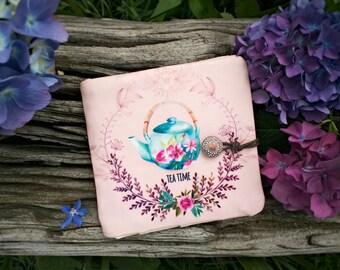 Portefeuille femme, portefeuille cadeau bohème, pochette tissu, accessoire rangement sac, portefeuille voyage, théière aquarelle tissu
