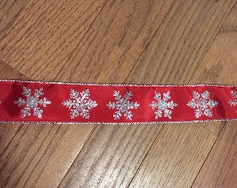 CLEARANCE -- Red Silver Satin Snowflake Wire Edge Ribbon Christmas Holiday Bow