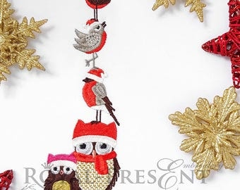 Machine Embroidery Design Christmas Owls and bird - 2 sizes