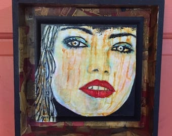 Mixed Media Painting: Boxed In - Mixed Media Wall Art - Textured Painting -  Shadow Box Art- Small Space Art - Upcycled Art - Office Art