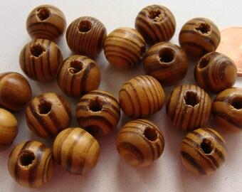 20 perles rondes 12mm BOIS strie marron / noir PB29 DIY création bijoux déco macrame