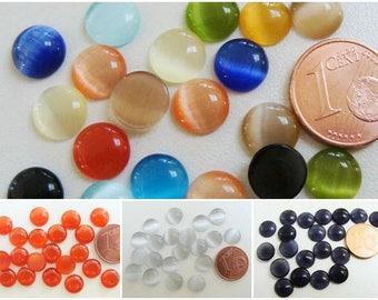 20 Cabochons Ronds 8mm verre OEIL de CHAT Mix ou à la couleur