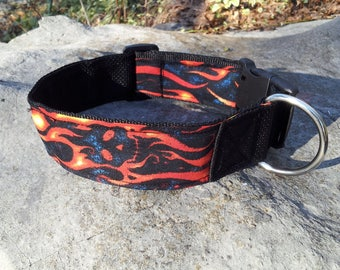 """New! 2"""" wide double ply adjustable quick release collar with Ghost Skull Flame fabric accent"""