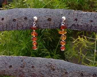 Earrings silver and amber chip