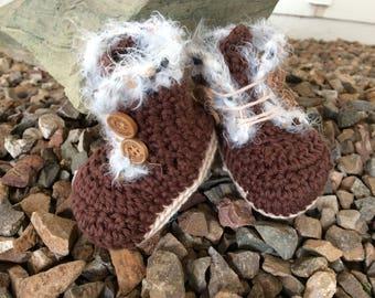 Crochet fur booties