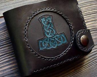 Leather wallet Thor's Hammer Mjolnir Scandinavian Mythology Vikings Handmade portmone
