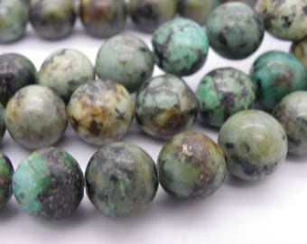 20 beads 10 mm natural Blue 10 mm African turquoise, green 1/2 hole