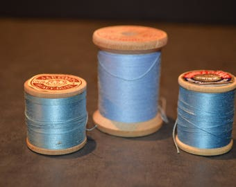 Coats and Clark's Wood Spools with Blue Thread-Set A