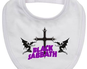 Baby Bib featuing Heavy Metal Masters BLACK SABBATH logo on quality new born baby bib