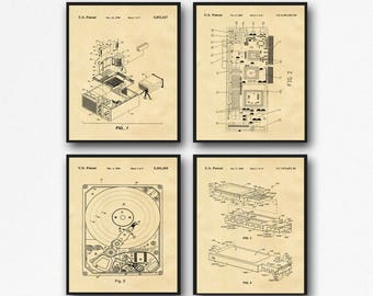 Computer Posters Set of 4 Computer Patent Posters Hard Drive Poster Motherboard Poster USB Poster Computer Geek Wall Art IT Posters WB160