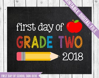 First day of Grade Two Sign, Back to school printable, School Printable Sign, First day of school, Grade 2, Grade two