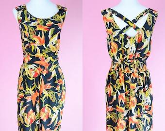 Vintage 90s, Tropical Print, Kathie Lee Romper // 1990s Black Jumpsuit, Shorts,  Women Size Medium