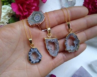 """Geode Slice Necklace on 18k gold solid 925 sterling silver 18"""" chain"""
