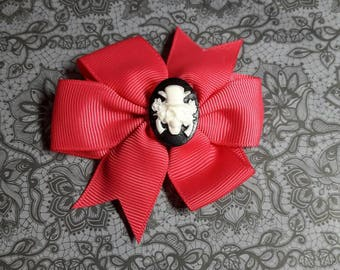 Red Ribbon with skull cabochon