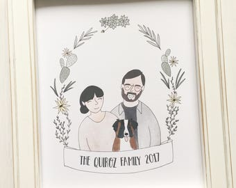 Custom Family Portrait - personalized portrait, family portrait, custom gift, custom wedding gift, personalized gift, Valentine's Day gift